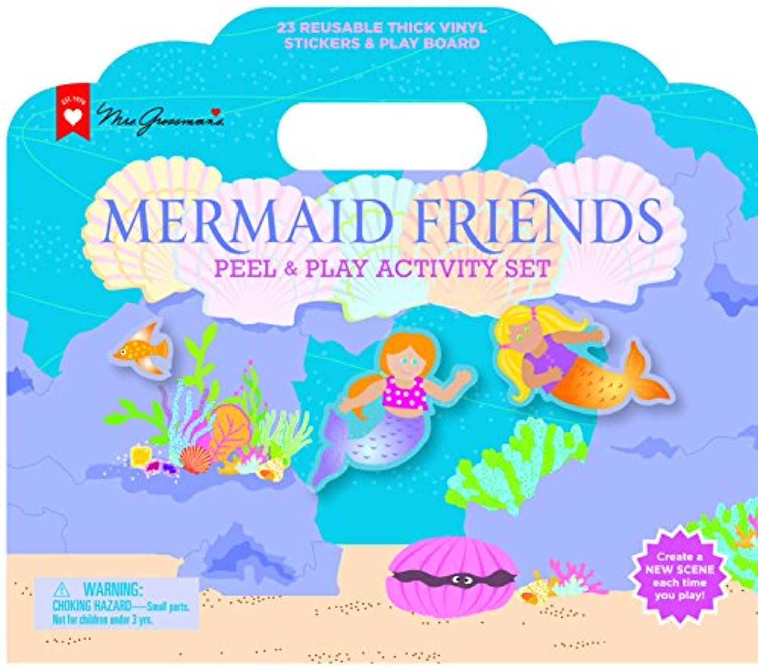 (Mermaids) - Mrs. Grossman's - Mermaid Friends - Peel and Play Kids Activity Set with Reusable Vinyl Stickers and Fold-Out Story Board - with Storage and Travel Handle - For Boys and Girls Ages 3 and Up