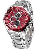 メンズ ファッション New CURREN ファッション メンズ ステンレススチールバンド アナログ スポーツ クォーツ腕時計CUR007 (Silver+Red)