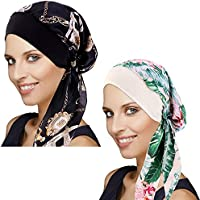 DORALLURE Vintage Silky Turban Women Chemo Cap Head Scarves Wide Band Pre-Tied Headwear