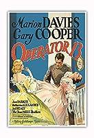 オペレータ13 - 主演 Marion Davies, Gary Cooper, Jean Parker - ビンテージなフィルム映画のポスター c.1934 - アートポスター - 33cm x 48cm