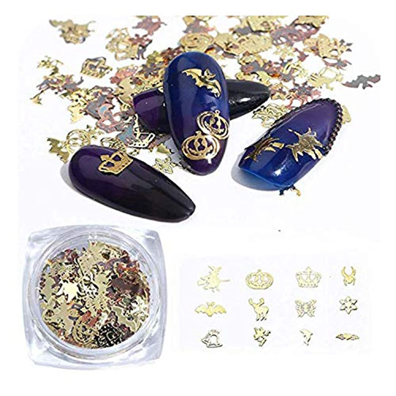 召喚する保証金ミントハロウィンネイルステッカーパッチ合金オーナメントアクセサリーdiy装飾用ネイルアートステッカー,Gold