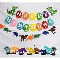 ladovin恐竜Happy誕生日バナーガーランドパーティー用品装飾、3のパック