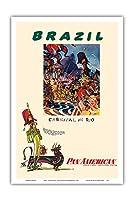 ブラジル - リオのカーニバル - パンアメリカン航空 - ビンテージな航空会社のポスター によって作成された ウィリアム・リンジー・プレスコット c.1960 - アートポスター - 31cm x 46cm