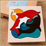 Hostar® 子どものジグソーパズル 海の世界セット はめこみ 形合わせ おもちゃ 幼児 木のおもちゃ 木製パズル 知育玩具
