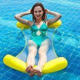大人のための折り畳み式プールフロート、プールフロートラウンジャー水浮遊ベッド、ラウンジラフトウォーターソファウォーターハンモックラウンジ,Yellow