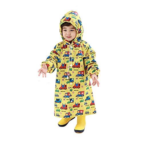 【Ludus Felix】レインコート キッズ 子供 男の子 女の子 レインウェア 雨具 カッパ (S, イエロー 汽車)