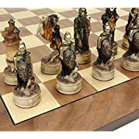 Skeleton Slayer Gothic Fantasy Skull Chess Set W/ 17 Walnut & Maple Veneer Board by HPL [並行輸入品]