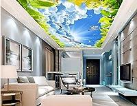 Weaeo カスタム3Dの天井の壁画の壁の家の装飾の絵の空の雲ハトの鳩緑の葉の3D壁の壁画の壁紙リビングルーム-400X280Cm