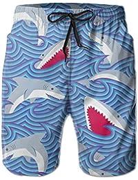 サメと波 メンズ サーフパンツ 水陸両用 水着 海パン ビーチパンツ 短パン ショーツ ショートパンツ 大きいサイズ ハワイ風 アロハ 大人気 おしゃれ 通気 速乾