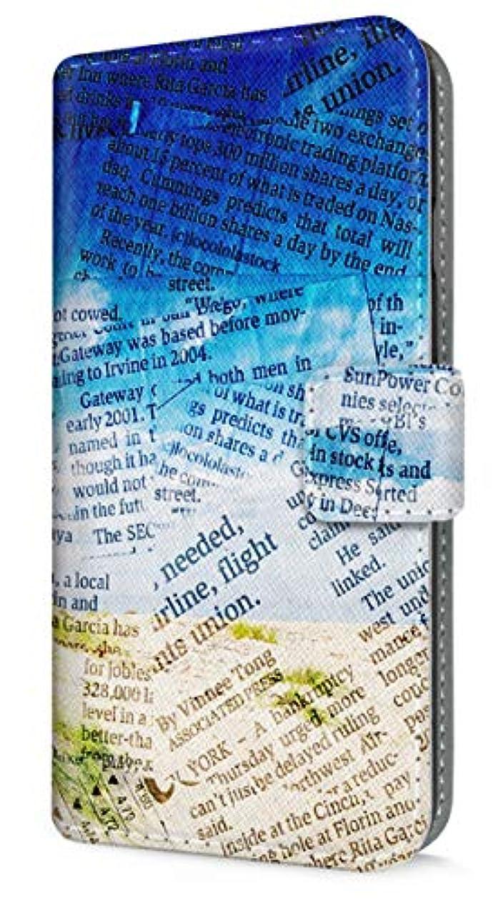 倒錯テナントフラッシュのように素早くau Xperia acro HD (IS12S) 手帳型 ケース 薄型 evisclub OLD 新聞柄 砂浜 南国 タヒチ ハワイ 2766 スマホケース カバー