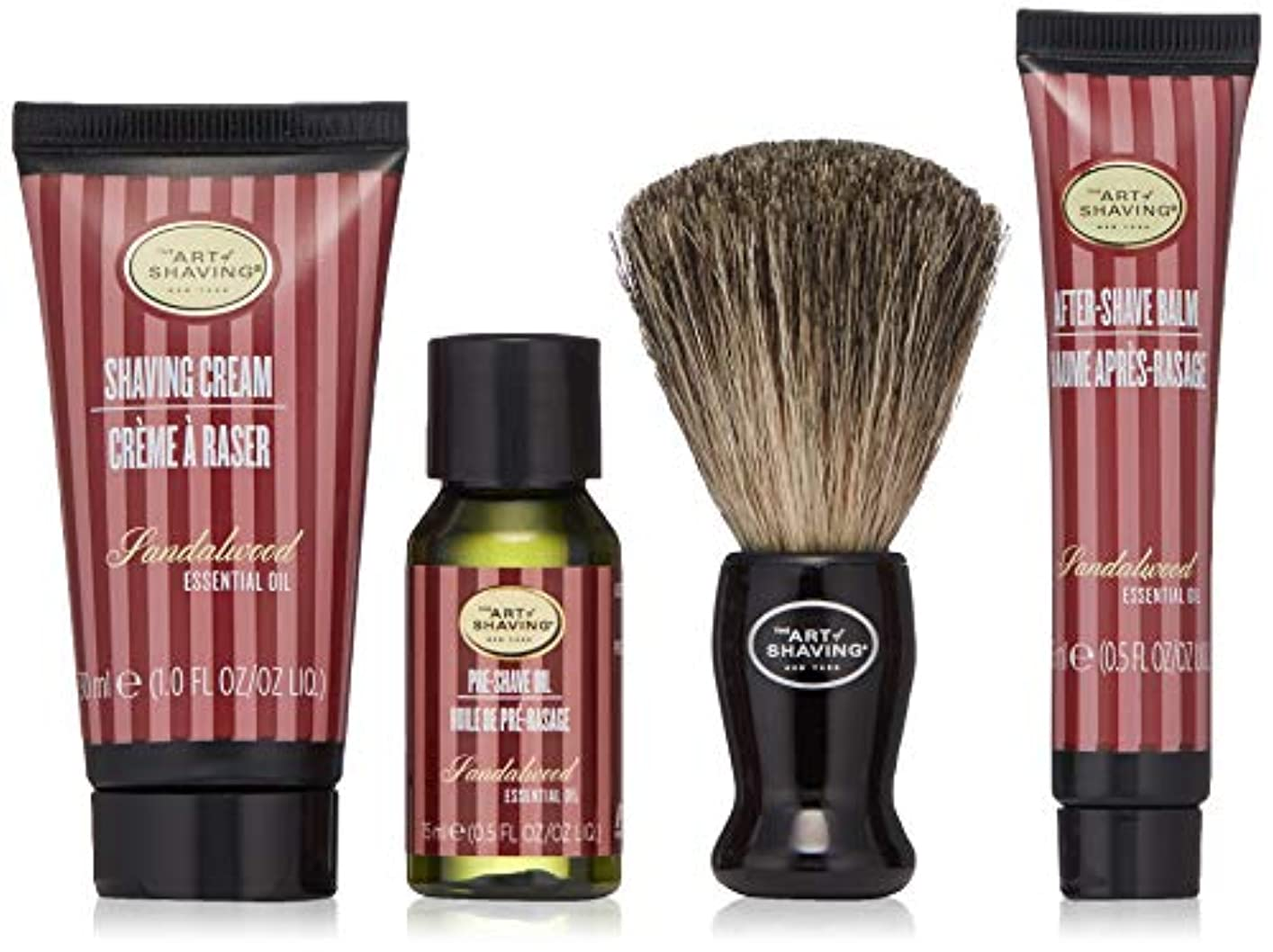 意味のあるフェミニン初心者アートオブシェービング Starter Kit - Sandalwood: Pre Shave Oil + Shaving Cream + After Shave Balm + Brush + Bag 4pcs + 1Bag並行輸入品
