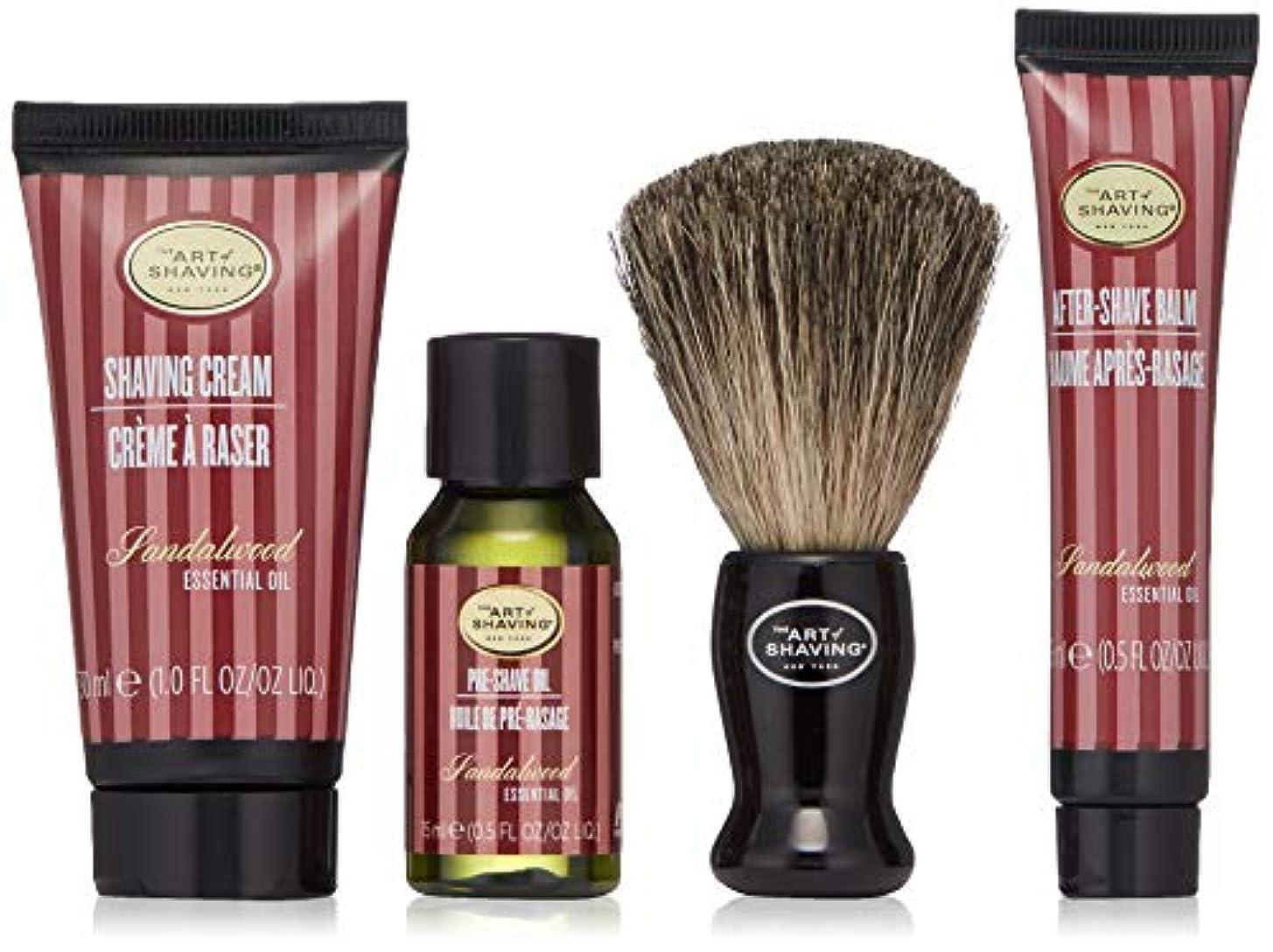 妊娠した切り下げパントリーアートオブシェービング Starter Kit - Sandalwood: Pre Shave Oil + Shaving Cream + After Shave Balm + Brush + Bag 4pcs + 1Bag並行輸入品