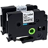 Label KINGDOM 2 Pack Replace P Touch Label Tape Compatible Brother P-touch (TZ231 TZe231) Standard Laminated Black on White 0.47 Inch (12mm) x 26.2 Feet (8m)