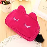 OUTDOOR PRODUCTS Generic M, Black : Korean Cloth Cosmetic Bag Cute Cat Admission Package Sanitary napkins postcard Outdoor Travel Portable Products Lovely Fashion