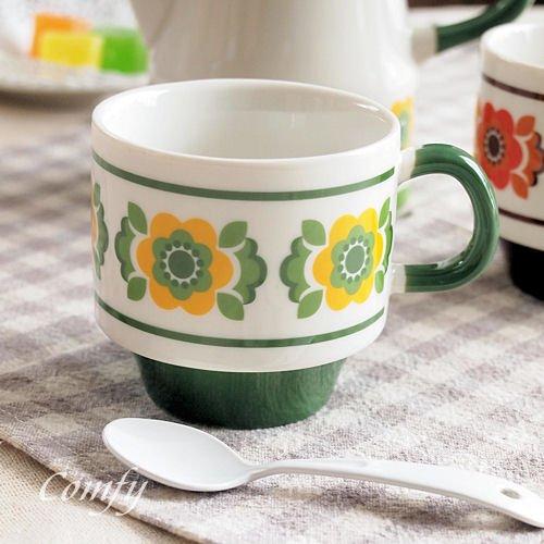 北欧雑貨 デイジー スタック マグカップ アンティーク調 カントリー雑貨 (グリーン)