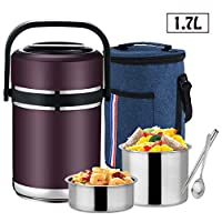 3層 ステンレスフードジャー ブル- 保温弁当箱 ランチボックス スープ缶 真空 断熱 保温保冷 スプーン ランチバッグ 付き,Purple,1.7L