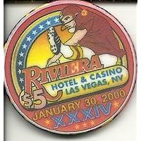 $ 5 Riviera Super Bowl 2000 Obsoleteラスベガスカジノチップ
