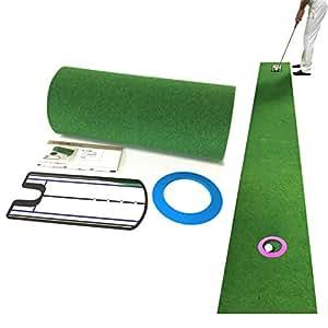 Danact ゴルフ練習器具 距離感練習パターマットセット 45cm×3m(ミラー型練習器具付き)