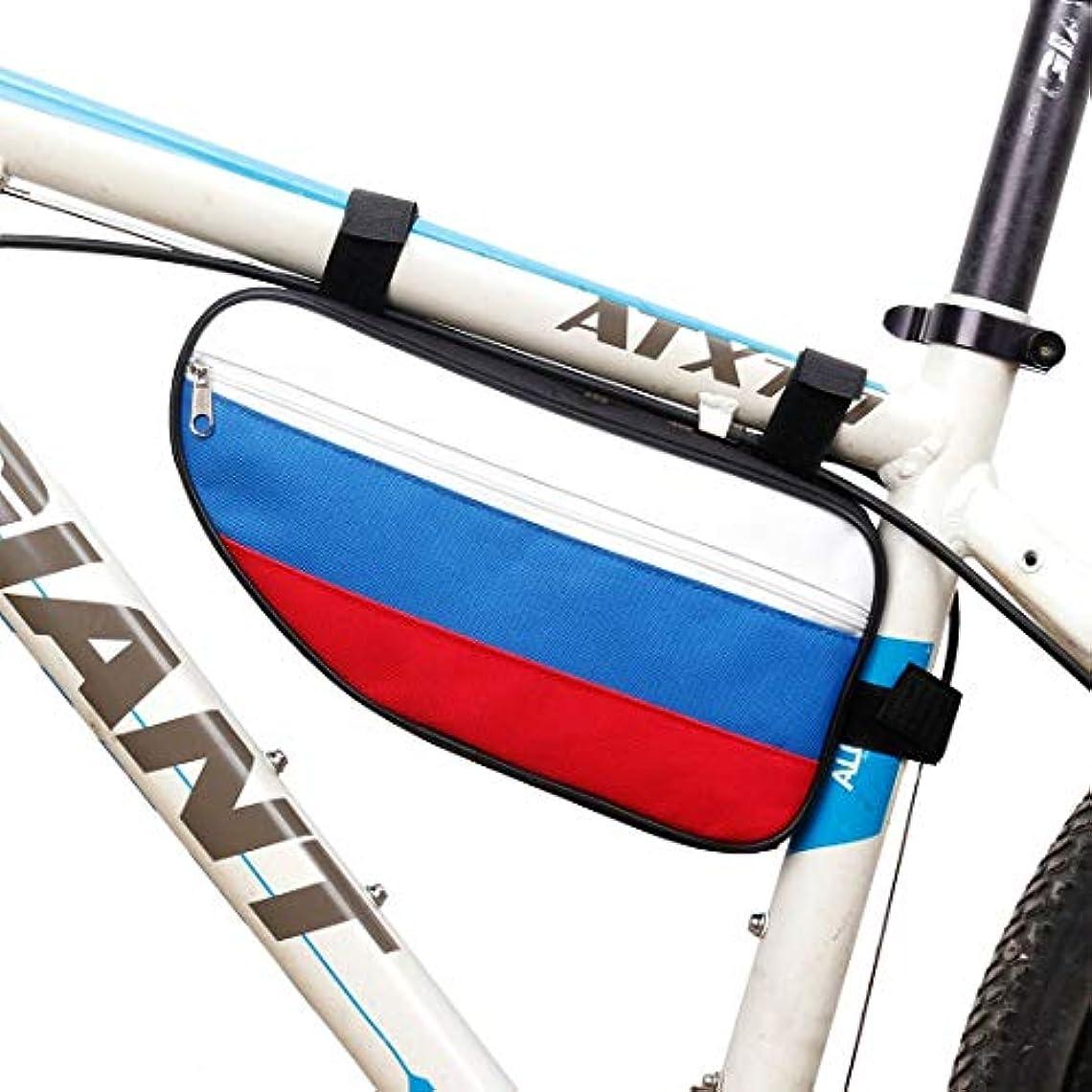 ファウル無許可狂気随州高新区酷冰便利购物店 自転車フレームバッグ、屋外サイクリングアクセサリー自転車フロントチューブトライアングルバッグ (色 : ホワイト)