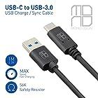 Mono Dsign(モノデザイン) Type-C対応 USB-Cケーブル USB-3.0ケーブル 両面挿せ Type C ケーブル 1メートル*1本 (ブラック)
