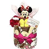 出産祝いにディズニー ミニーのおむつケーキ 女の子/赤ちゃん/内祝い/誕生日プレゼント/ギフトセット/ダイパーケーキ (パンパースS12 (出産祝い用に))