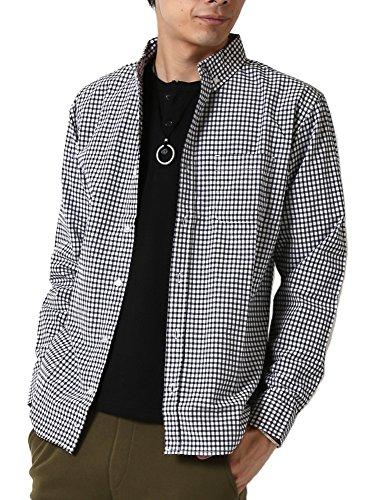 (アーケード) ARCADE カジュアルシャツメンズ 長袖 ボタンダウンシャツ 柄シャツ L ブラックギンガムチェック