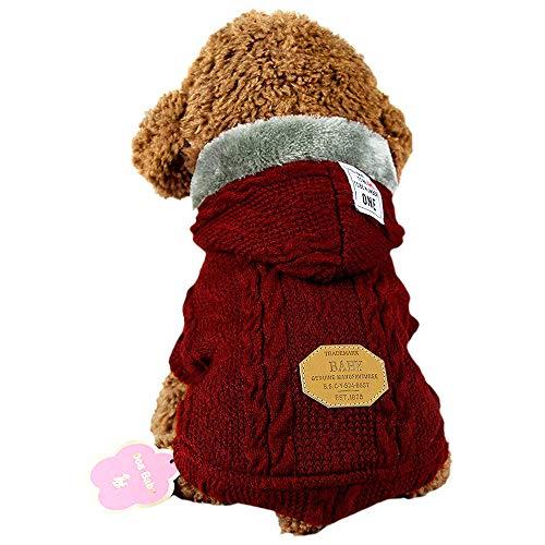 SEHOOペット服 セーター 犬服 秋冬 加絨 厚い ドッグウェア パーカー 小中型犬 防寒 (L,レッド)