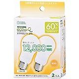 オーム電機 電球形蛍光灯 エコデンキュウ A形 E26 60形相当 電球色 2個入 [品番]06-0259 EFA15EL/11-2PN