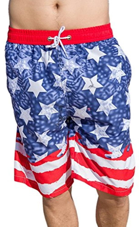 EOZY 夏ペア ビーチパンツ カップル オーバーウェア 星柄アメリカ風 ズボン 短パン 体型カバー 海水浴 プール 温泉 リゾート用に ハワイ風