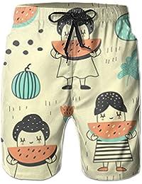 かわいい カートゥーン スイカ サーフパンツ ショーツ 水着 海水パンツ 海パン ゴムウエスト サーフトランクス 水陸両用