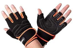 ウェイトリフティング トレーニング グローブ リストフラップ付き メッシュ仕様 2カラー 3サイズ M/L/XL 【GW SPORTS】 (オレンジ, M)