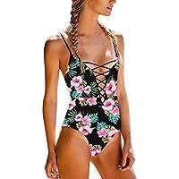 HOPEA Women's Sexy Bandage Bikini Front Criss Cross Swimwear Push-Up Padded Bikini Set Strappy Swimsuit