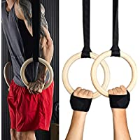 Exblue 木製体操リング 調節可能なストラップとスポーツリストバンド ジムリング クロスフィット フルボディ強化 筋肉ボディウェイトトレーニング用