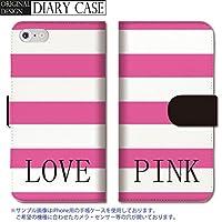301-sanmaruichi- iPhone7plus 手帳型ケース iPhone7plus ケース 手帳型 おしゃれ PINK ピンク マゼンタ ボーダー ストライプ LOVE 英語 ロゴ A 手帳ケース