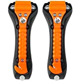 Lifehammer Brand Car Safety Hammer, The Original Emergency Escape and Rescue Tool with Seatbelt Cutter, Made in The Netherlands, Glow Orange (Pack of 2)