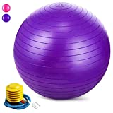 Jasonwell Exercise Ball Extra Thick Yoga Ball Chair Birthing&balance Ball with Quick Pump (55-85cm)(Purple, 65)