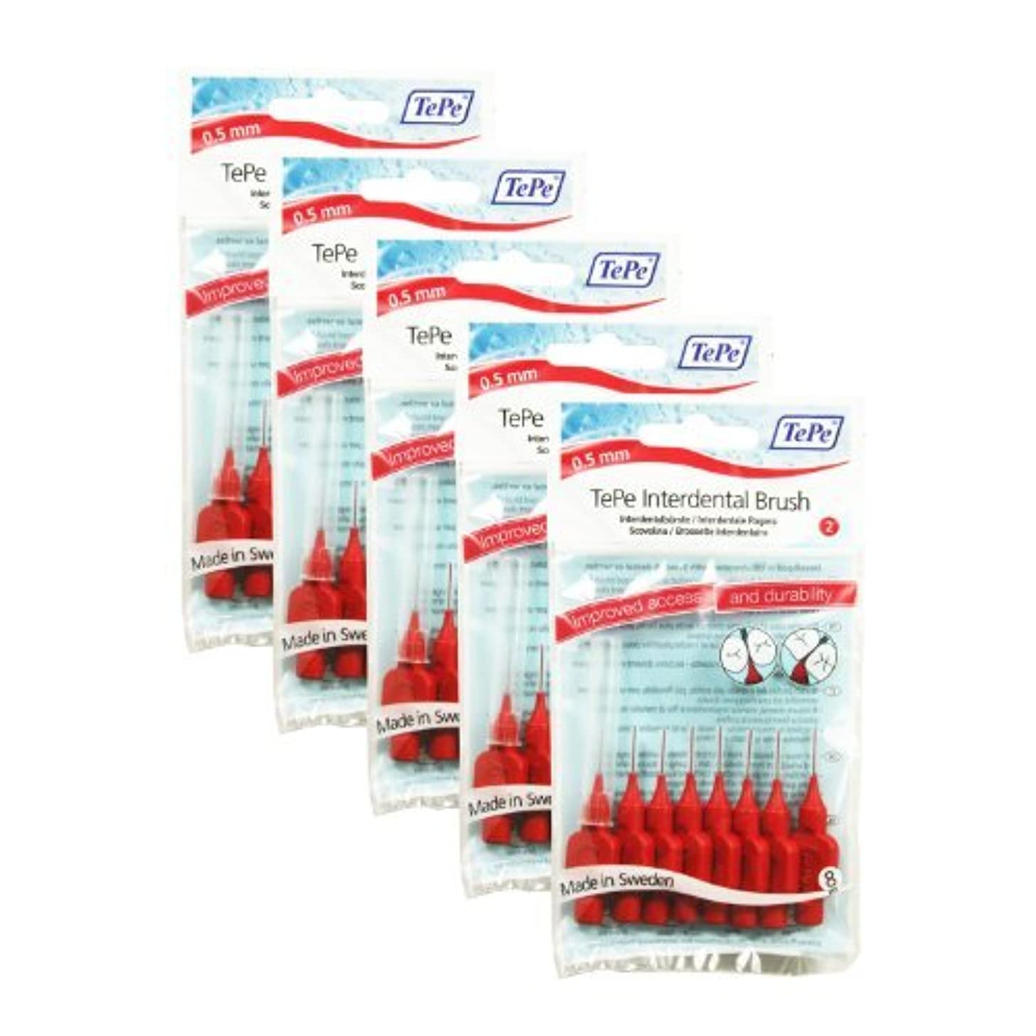 続ける牧師約設定TePe Interdental Brushes RED 0.55 mm - 40 Brushes (5 Packs of 8) by TePe