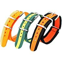 Jilafer Watch Bands 3 Pcs Premium Ballistic Nylon Straps NATO Style - Choice of Color & Size