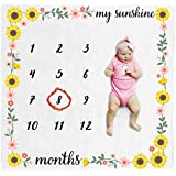 Organic Baby Monthly Milestone Blanket (My Sunshine) with Month Frame Prop | Newborn Girl | Soft Photography Background | 1 to 12 Months