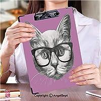 3 dパターンの クリップボード アルファベット アイデア多機能メニューメガネと猫の手描きの肖像 (2パック)