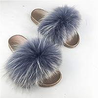 XRZYフェイクフォックスファーヘアスリッパ、レディースファーフリップフロップ、レディースふわふわスリッパシルバーPVCソールアライグマの毛皮ロバヘアスリッパ夏の毛皮の靴