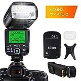 ESDDIキヤノン用フラッシュストロボ E-TTL 1/8000 HSSワイヤレスフラッシュスピードライト GN58 2.4Gワイヤレスラジオマスタースレーブ ワイヤレスフラッシュトリガ付きの専門的なカメラフラッシュセット