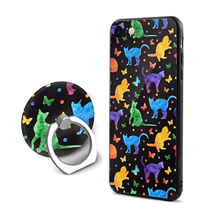 環境に優しい障害者ディプロマ猫と蝶柄 Iphone6Plus ケース/Iphone6s Plus ケース Cases リング付き ソフト TPU 軽量 薄型 擦り傷防止 取り出し易い 携帯カバー 落下防止 柔らかい オシャレ 耐衝撃 ケース カバー