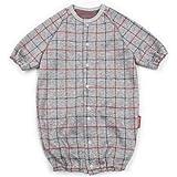 ◇日本製◇ ジャガード長袖ツーウェイオール (大きなチェック柄) 新生児50-60cm 日本製