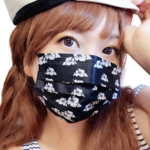 黒マスク(ブラックマスク)シリーズ ハイビスカスマスク(個包装) キュートに小顔効果UPするおしゃれマスク【3枚入】