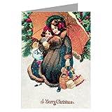 Victorian Girls BringingクリスマスPresentsホームfor the Holidays、ヴィンテージノートカードボックスセット