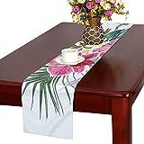 LKCDNG テーブルランナー 美しい花 動物 クロス 食卓カバー 麻綿製 欧米 おしゃれ 16 Inch X 72 Inch (40cm X 182cm) キッチン ダイニング ホーム デコレーション モダン リビング 洗える
