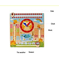 Zhenyu ベビー木製玩具 木製ブロック モデル組み立てキット 学習カレンダー 時計 テーブルゲーム おもちゃ 赤ちゃん 教育 子供服