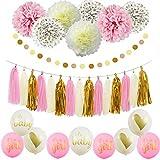 Sogorge It's A Girl Ballon ベビーシャワーデコレーション ピンク クリーム グリッター ゴールド ティッシュペーパー ポンポン 水玉 女の子用 ベビーシャワー デコレーション ピンクゴールド パーティー装飾