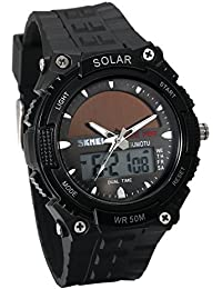 JewelryWe ソーラー 腕時計 スポーツウオッチ アナデジ表示 多機能 5ATM防水 通勤&通学 誕生日 プレゼント ブラック